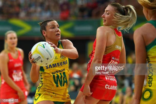 Serena Gutherie of the England Roses passes the ball during the Quad Series International Netball test match between the Australian Diamonds and the...