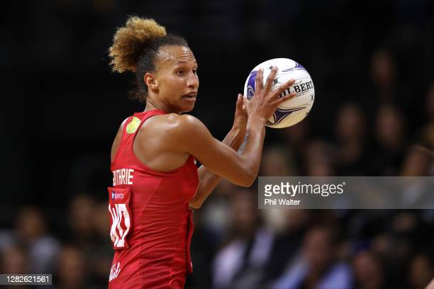Serena Guthrie of England passes during game 1 of the Cadbury Netball Series between the New Zealand Silver Ferns and the England Roses at...