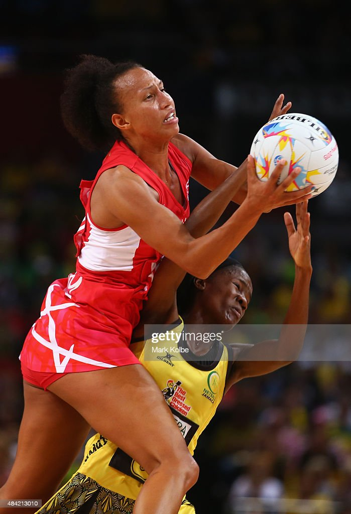 Serena Guthrie of England wins the ball over Nicole Dixon of Jamaica during the 2015 Netball World Cup Bronze Medal match between England and Jamaica at Allphones Arena on August 16, 2015 in Sydney, Australia.