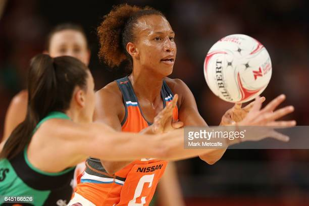 Serena Guthrie of the Giants in action during the round two Super Netball match between the Giants and the West Coast Fever at Qudos Bank Arena on...