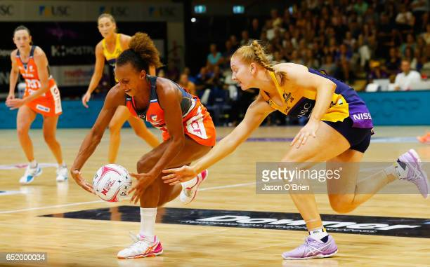 Serena Guthrie of the Giants in action with Madeline McAuliffe of the Lightning during the round four Super Netball match between the Lightning and...