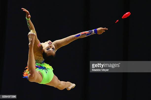 Serena Lu performs with clubs during 2016 USA Gymnastics Championships - Day 2 at the Dunkin' Donuts Center on June 11, 2016 in Providence, Rhode...