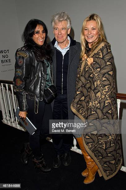 Serena Rees Adam Clayton and Kate Moss attend the Paul Simonon Wot No Bike' Private View at the ICA on January 20 2015 in London England