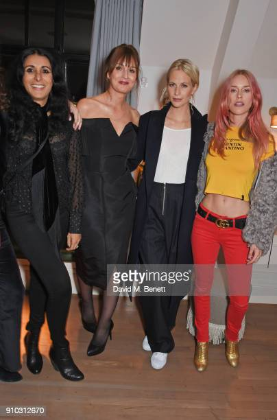 Serena Rees, Teresa Tarmey, Poppy Delevingne and Mary Charteris attend the launch of Teresa Tarmey's new 'at home facial system' at Mortimer House,...