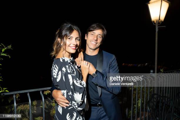 Serena Rossi and Davide Devenuto attend the Nastri D'Argento dinner in Taormina on June 28, 2019 in Taormina, Italy.