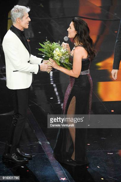 Serena Rossi and Serena Rossi attend the fourth night of the 68 Sanremo Music Festival on February 9 2018 in Sanremo Italy