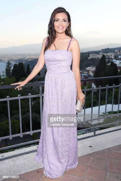 Serena Rossi attends the Nastri D'Argento cocktail party on June 30, 2018 in Taormina, Italy.