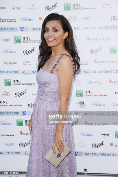 Serena Rossi attends the Nastri D'Argento cocktail party on June 30 2018 in Taormina Italy