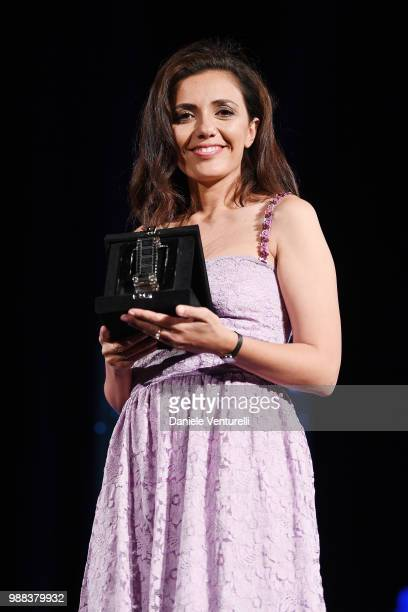 Serena Rossi is awarded during the Nastri D'Argento Award Ceremony on June 30, 2018 in Taormina, Italy.