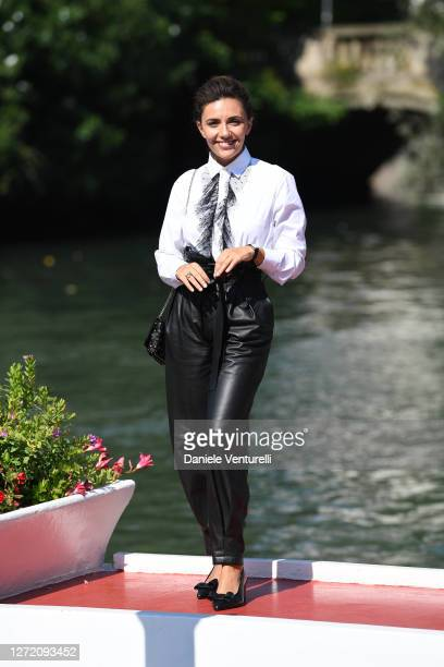 Serena Rossi is seen arriving at the 77th Venice Film Festival on September 12, 2020 in Venice, Italy.