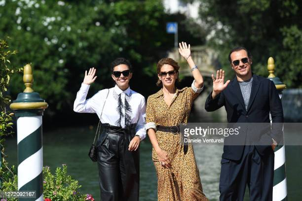 Serena Rossi, Maya Sansa and Stefano Accorsi are seen arriving at the 77th Venice Film Festival on September 12, 2020 in Venice, Italy.
