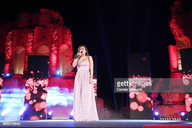 Serena Rossi performs during the Nastri D'Argento Award Ceremony on June 30, 2018 in Taormina, Italy.