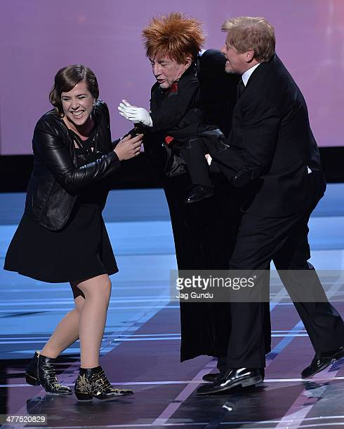 Serena Ryder Martin Short and Dave Foley on stage at the 2014 Canadian Screen Awards at Sony Centre for the Performing Arts on March 9 2014 in...