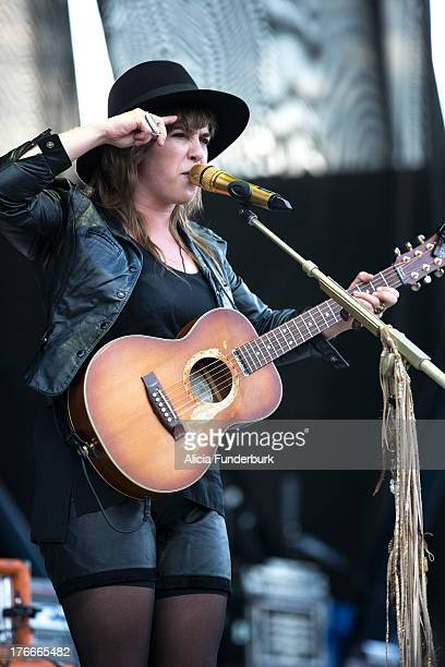 Serena Ryder performs at the Time Warner Cable Uptown Amphitheatre on August 16 2013 in Charlotte North Carolina