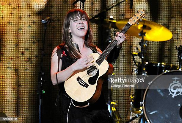 Serena Ryder performs on stage during the 2009 Juno Awards at General Motors Place on March 29 2009 in Vancouver Canada