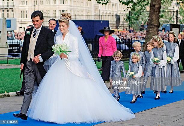 Serena Stanhope With Her Father Viscount Petersham On Her Wedding Day At St Margaret's Church
