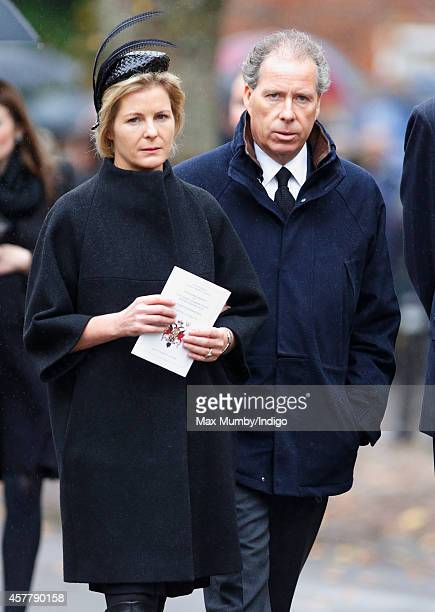 Serena Viscountess Linley and David Viscount Linley attend the funeral of John SpencerChurchill 11th Duke of Marlborough at the church of St Mary...