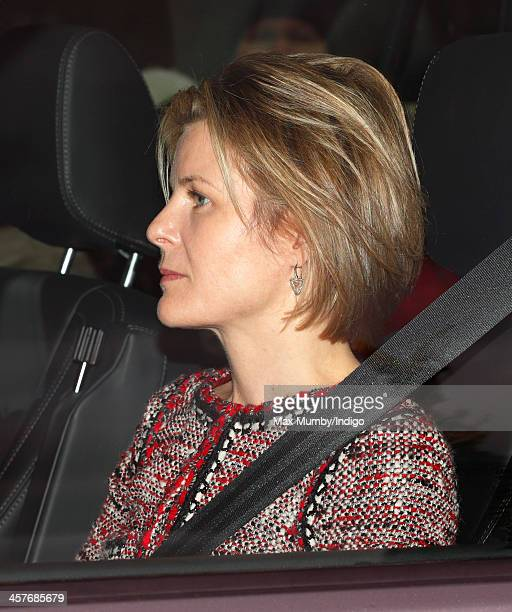 Serena Viscountess Linley arrives at Buckingham Palace to attend a Christmas Lunch hosted by Queen Elizabeth II on December 18 2013 in London England
