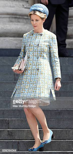 Serena Viscountess Linley attends a national service of thanksgiving to mark Queen Elizabeth II's 90th birthday at St Paul's Cathedral on June 10...
