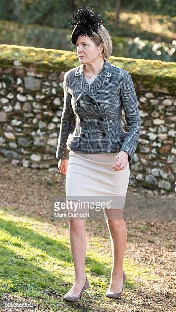 Serena Viscountess Linley attends church at Hillington on January 17 2016 in King's Lynn England
