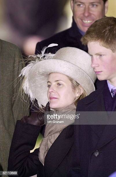 Serena Viscountess Linley Holding Onto Her Hat Attending Church On Christmas Day At Sandringham In Norfolk