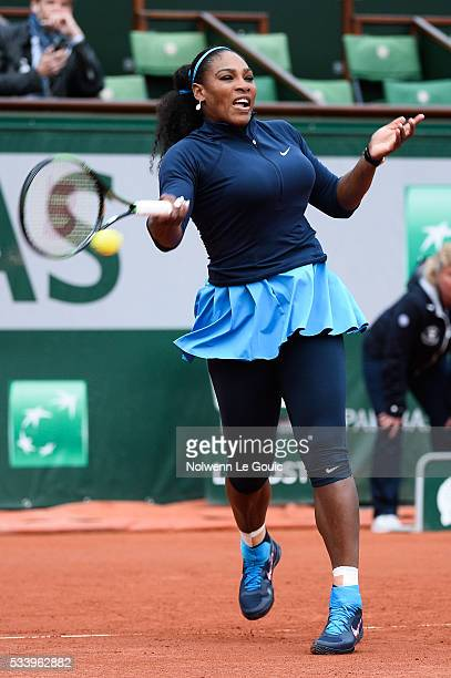 Serena Wiliams during the Women's Singles first round on day three of the French Open 2016 at Roland Garros on May 24 2016 in Paris France