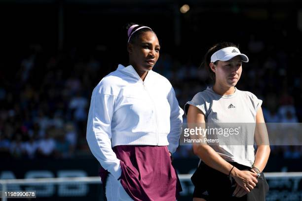 Serena Williamas of USA and Jessica Pegula of USA receive a powiri ahead of playing in the final match against at ASB Tennis Centre on January 12...