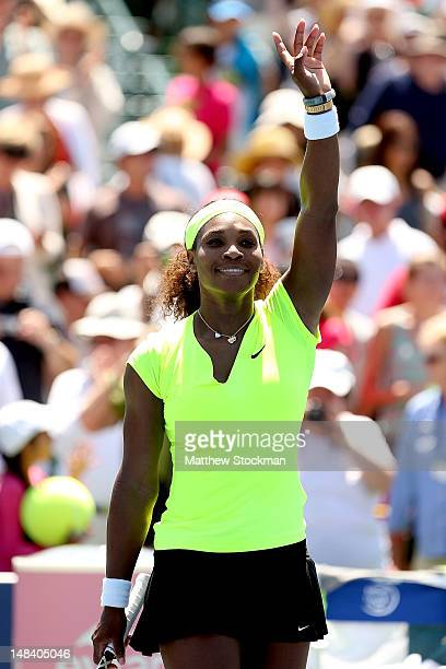 Serena Williams acknowledges the crowd after her win over Coco Vandeweghe during the final of the Bank of the West Classic at Stanford University...