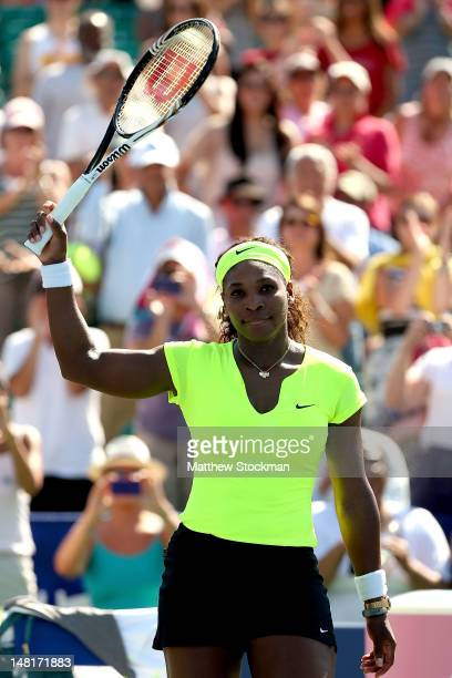 Serena Williams acknowledges the crowd after her win over Nicole Bibbs during the Bank of the West Classic at Stanford University Taube Family Tennis...