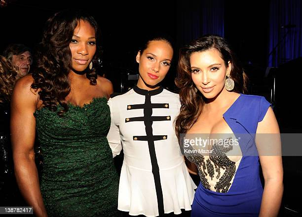 Serena Williams Alicia Keys and Kim Kardashian attend Clive Davis And The Recording Academy's 2012 PreGRAMMY Gala And Salute To Industry Icons...