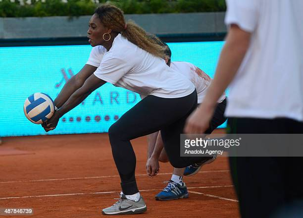 Serena Williams American professional tennis player who is currently ranked No 1 in women's singles tennis during the Charity Day at the Matua Madrid...