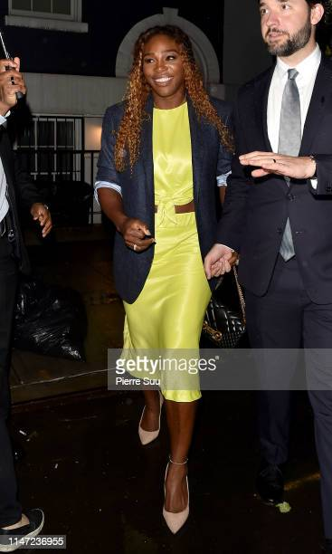 Serena Williams and Alexis Ohanian are seen leaving a Pre-Met Gala party on May 05, 2019 in New York City.