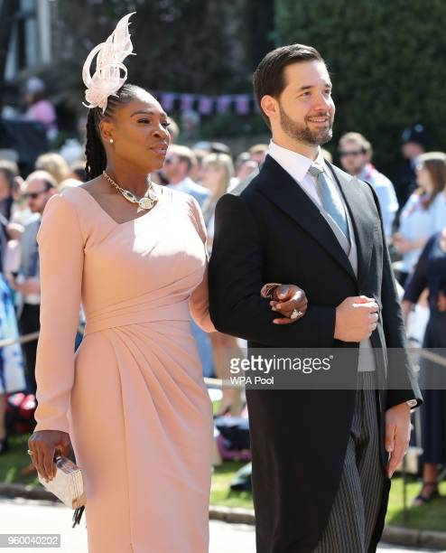 Serena Williams and Alexis Ohanian arrive at St George's Chapel at Windsor Castle before the wedding of Prince Harry to Meghan Markle on May 19 2018...