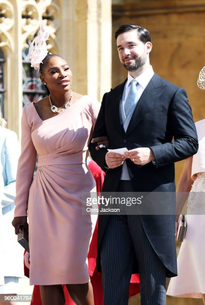Serena Williams and Alexis Ohanian arrive at the wedding of Prince Harry to Ms Meghan Markle at St George's Chapel, Windsor Castle on May 19, 2018 in...