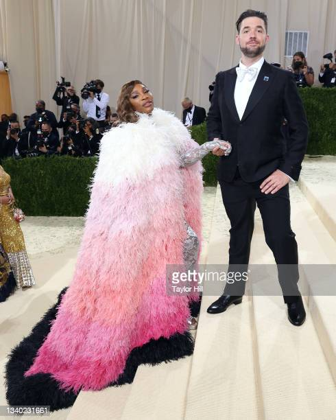 """Serena Williams and Alexis Ohanian attend the 2021 Met Gala benefit """"In America: A Lexicon of Fashion"""" at Metropolitan Museum of Art on September 13,..."""