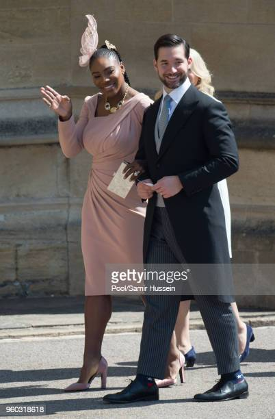 Serena Williams and Alexis Ohanian attend the wedding of Prince Harry to Ms Meghan Markle at St George's Chapel Windsor Castle on May 19 2018 in...