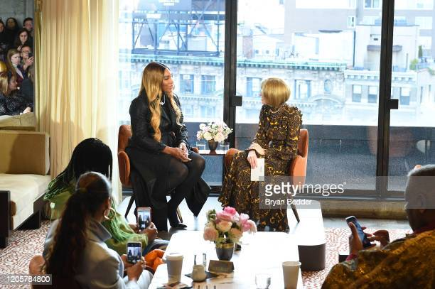 Serena Williams and Anna Wintour speak at S by Serena Spring 2020 Collection Reveal with Serena Williams and Anna Wintour during NYFW The Shows at...