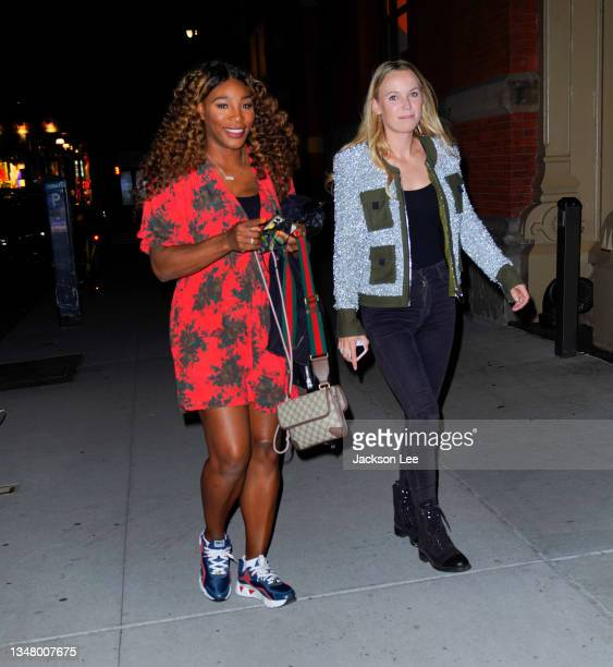 Serena Williams and Caroline Wozniacki are seen at at Candace Swanepoel's birthday party at Zero Bond on October 21, 2021 in New York City.