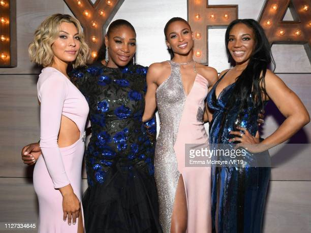 Serena Williams and Ciara attend the 2019 Vanity Fair Oscar Party hosted by Radhika Jones at Wallis Annenberg Center for the Performing Arts on...