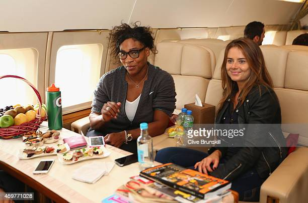 Serena Williams and Daniela Hantuchova of the Singapore Slammers on a private jet from Manila to Singapore prior to the CocaCola International...