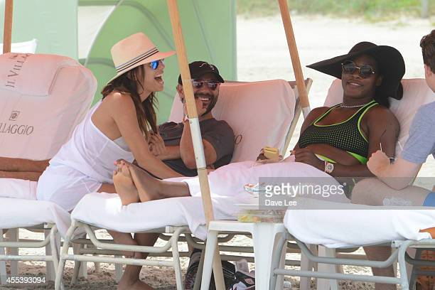 Serena Williams and Eva Longoria are sighted hanging out together in Miami Beach Florida on September 13 2014 in Miami Florida