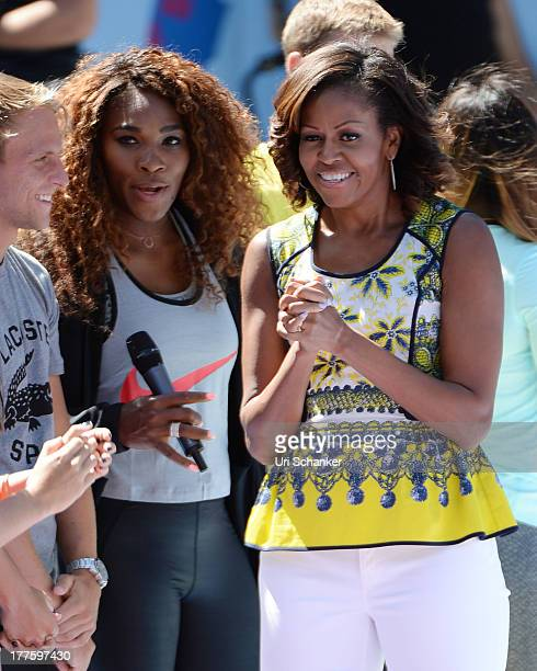 Serena Williams and First Lady Michelle Obama attend the 2013 Arthur Ashe Kids Day at USTA Billie Jean King National Tennis Center on August 24 2013...