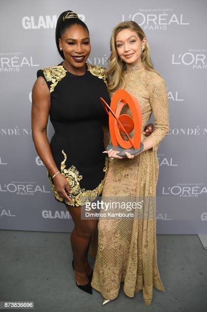 Serena Williams and Gigi Hadid pose backstage at Glamour's 2017 Women of The Year Awards at Kings Theatre on November 13 2017 in Brooklyn New York