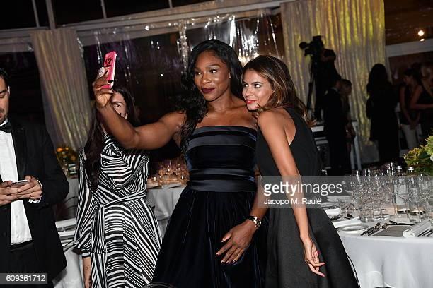 Serena Williams and guest attend the Milano Gala Dinner benefitting the Novak Djokovic Foundation presented by Giorgio Armani at Castello Sforzesco...
