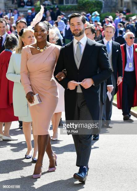 Serena Williams and her husband Alexis Ohanian arrive for the wedding ceremony of Britain's Prince Harry and US actress Meghan Markle at St George's...