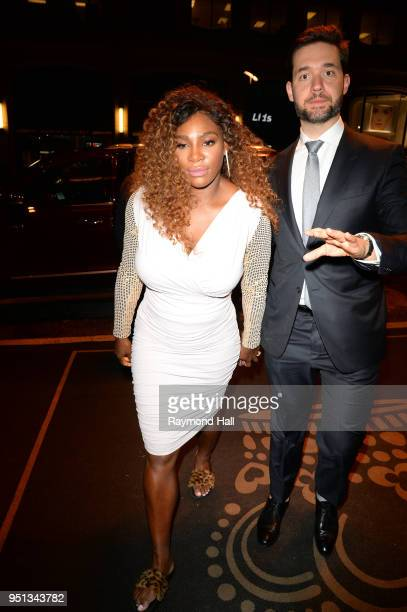 Serena Williams and husband Alexis Ohanian arrive at a hotel in midtown on April 25, 2018 in New York City.