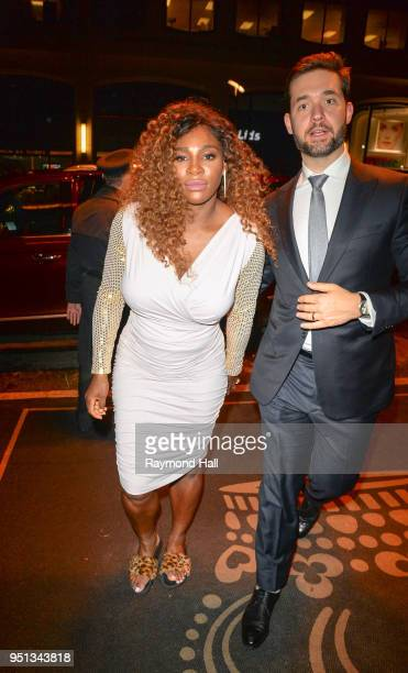 Serena Williams and husband Alexis Ohanian arrive at a hotel in midtown on April 25 2018 in New York City