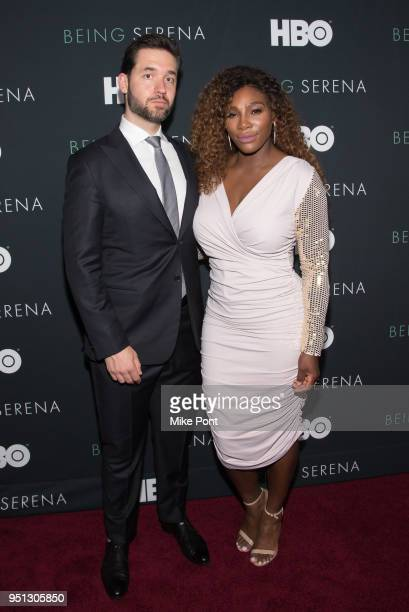 "Serena Williams and husband Alexis Ohanian attend the ""Being Serena"" New York Premiere at Time Warner Center on April 25, 2018 in New York City."