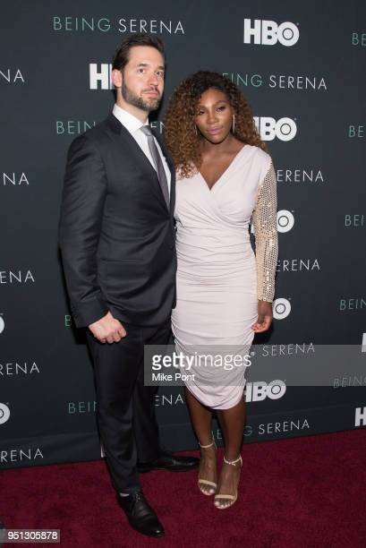 Serena Williams and husband Alexis Ohanian attend the 'Being Serena' New York Premiere at Time Warner Center on April 25 2018 in New York City