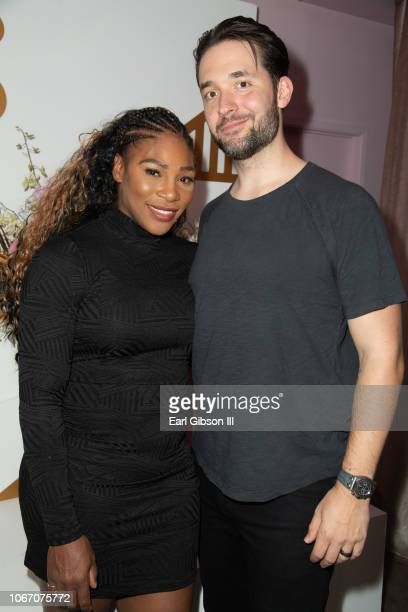 Serena Williams and husband Alexis Ohanian attend The Serena Collection PopUp VIP Reception at Melody Eshani on November 30 2018 in Los Angeles...